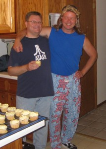If Eric went preppie, then Joe went the other direction: mullet, muscle shirt and Zubaz.